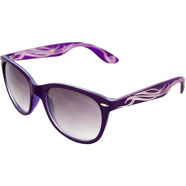 Unisex Purple/ Ivory Fashion Sunglasses