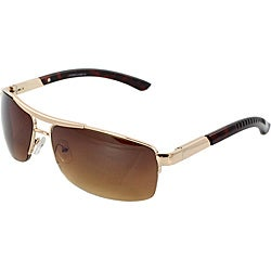 Rectangle Unisex Fashion Gold Brown Semi-Rimless Sunglasses with Amber Lenses