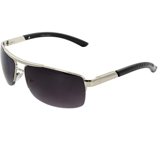 Rectangle Fashion Unisex Silver Black Semi-Rimless Frame Sunglasses with Purple Black Lenses