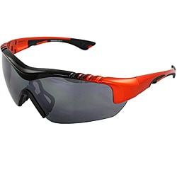 TR90 Wrap Black/Orange Semi-Rimless Frame Sunglasses with Smoke Lenses and Comfortable Rubber Cushion Pad