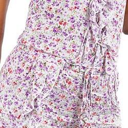 Stanzino Women's White Purple Printed Ruffled Romper