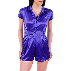 Stanzino Women's Purple Collared Romper with Lace Back Detail