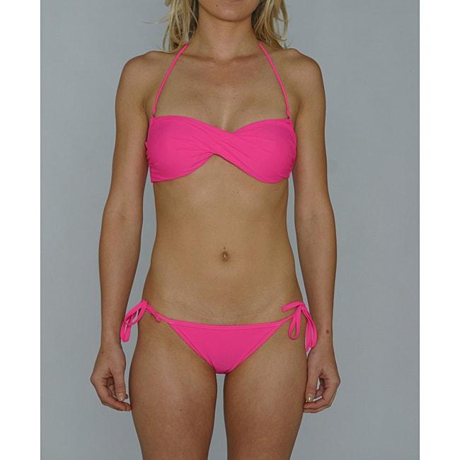 Island World Junior's Pink Twisted Halter Bikini