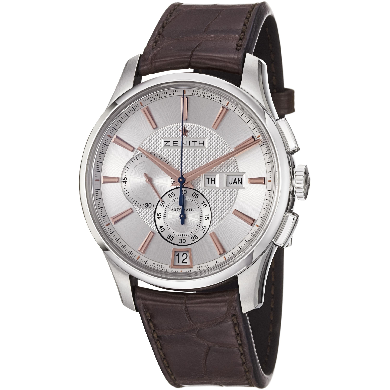 Zenith Men's 03.2070.4054/02.C711 'Class Winsor' Silver Dial Brown Strap Chronograph Watch