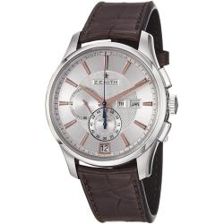 Zenith Men's 'Class Winsor' Silver Dial Brown Strap Chronograph Watch