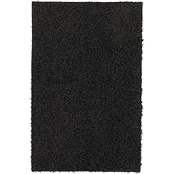 Solid Shag Black Rug (5' x 7')