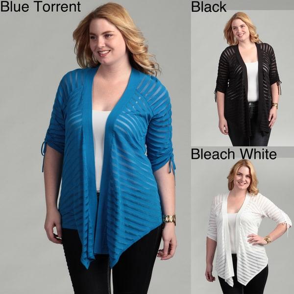 Grace Elements Women's Plus Size flyaway Cardigan w/Gathered Sleeves FINAL SALE