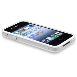 Clear/ White TPU Bumper Case/ Aluminum Buttons for Apple iPhone 4/ 4S