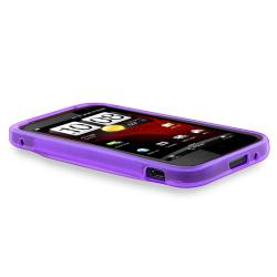 Purple S Shape TPU Rubber Skin Case for HTC Rezound