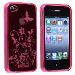 BasAcc Clear Hot Pink Flower TPU Rubber Case for Apple iPhone 4/ 4S