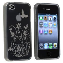 BasAcc Clear Smoke Flower TPU Protective Rubber Case for Apple iPhone 4/4S
