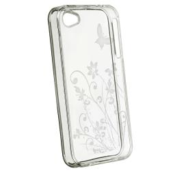 INSTEN Clear Flower/ Butterfly TPU Rubber Phone Case Cover for Apple iPhone 4/ 4S