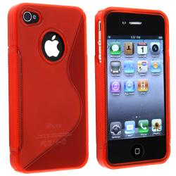 BasAcc Frost Clear Red S Shape TPU Rubber Case for Apple iPhone 4/ 4S