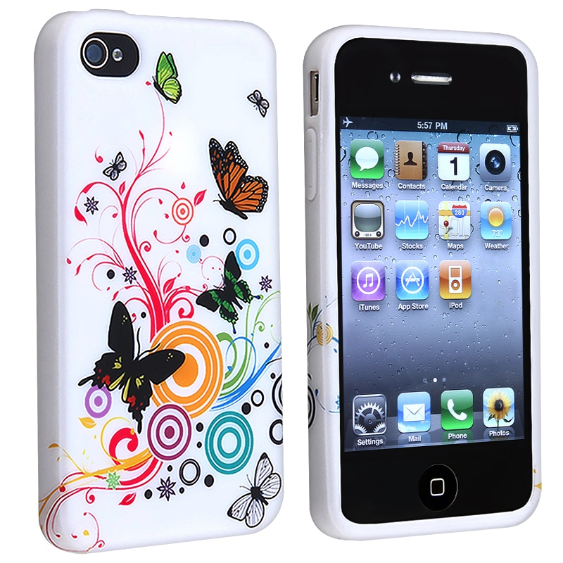INSTEN White Flower/ Butterfly TPU Rubber Phone Case Cover for Apple iPhone 4/ 4S