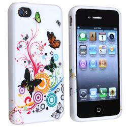 BasAcc White Flower/ Butterfly TPU Rubber Case for Apple iPhone 4/ 4S