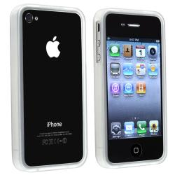 INSTEN Clear White TPU Bumper Phone Case Cover for Apple iPhone 4/ 4S