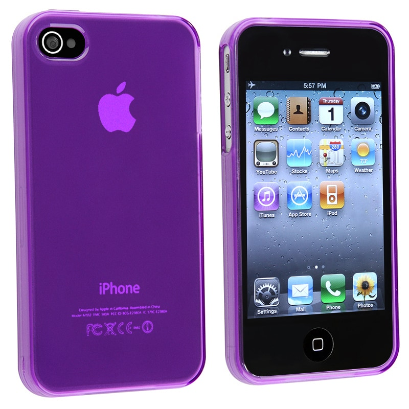 BasAcc Clear Frost Purple TPU Rubber Skin Case for Apple iPhone 4/ 4S