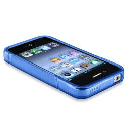 INSTEN Clear Dark Blue S Shape TPU Rubber Phone Case Cover for Apple iPhone 4/ 4S