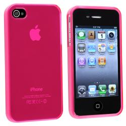 BasAcc Clear Frost Hot Pink TPU Rubber Case for Apple iPhone 4/ 4S