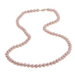 DaVonna 14k Gold Cultured Freshwater Pink Pearl Necklace (6.5-7 mm)