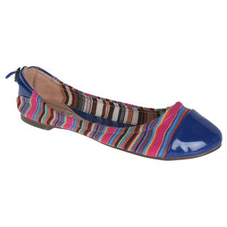 Wild Diva by Beston Women's 'Larisa-46' Blue Elastic Flats
