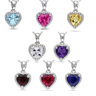 Miadora Sterling Silver Heart-shaped Gemstone Necklace