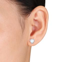 Miadora Sterling Silver Heart-shaped Gemstone Stud Earrings