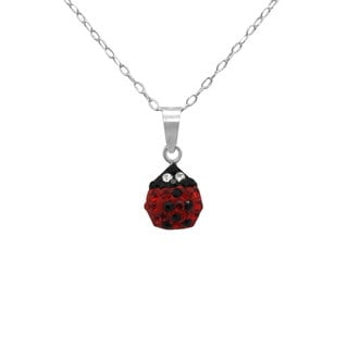 Sterling Silver Black and Red Crystal Ladybug Necklace