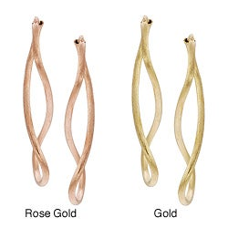 Tressa Gold or Rose Goldplated Silver Brushed Figure-8 Earrings