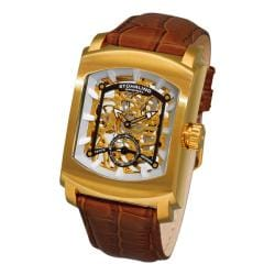 Stuhrling Original Men's 'Midtown Banker' Skeleton Leather Strap Watch