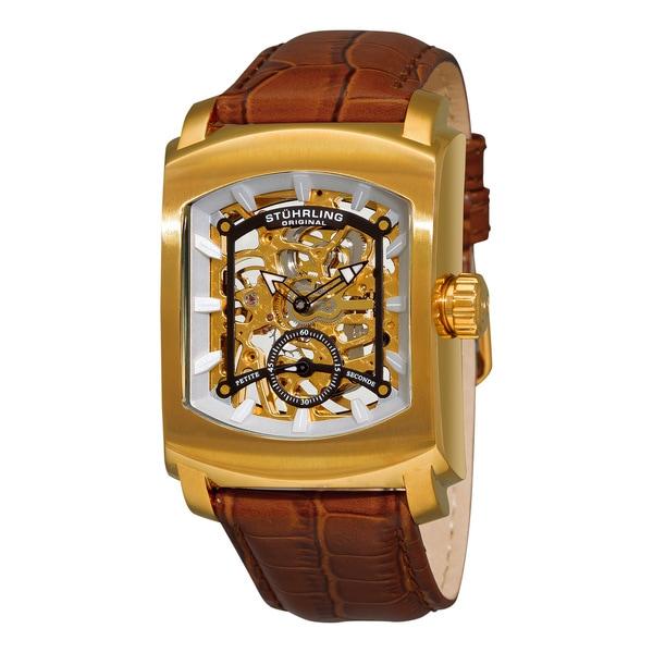 Stuhrling Original Men's 'Midtown Banker' Skeleton Leather Strap Watch