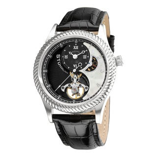 Stuhrling Original Men's 'Enigma' Automatic Black Leather Strap Watch