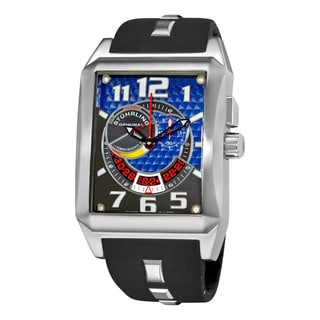 Stuhrling Original Men's 'Mad Man Complex' Black Rubber Strap Watch