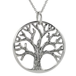 Tressa Sterling Silver Cut-out Tree of Life Necklace
