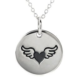 Journee Collection Sterling Silver Winged Heart Disc Necklace