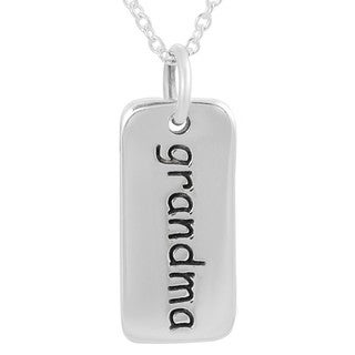 Tressa Sterling Silver 'Grandma' Tag Necklace