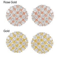 Tressa Goldplated Silver Cubic Zirconia Lattice Detail Disk Earrings