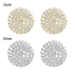 Tressa Silver Pave-set Cubic Zirconia Disk Earrings