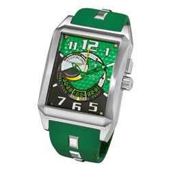 Stuhrling Original Men's Mad Man Complex Green Rubber Strap Swiss Quartz Alarm Watch