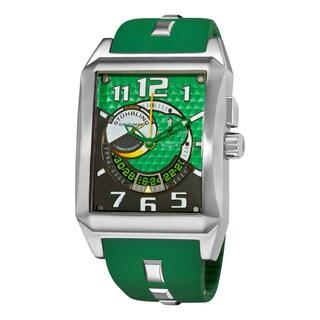 Stuhrling Original Men's Mad Man Complex Green Rubber Strap Swiss Quartz Alarm Watch