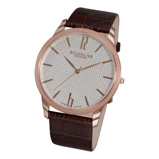 Stuhrling Original Men's 'Del Mar' Swiss Quartz Brown Leather Strap Watch