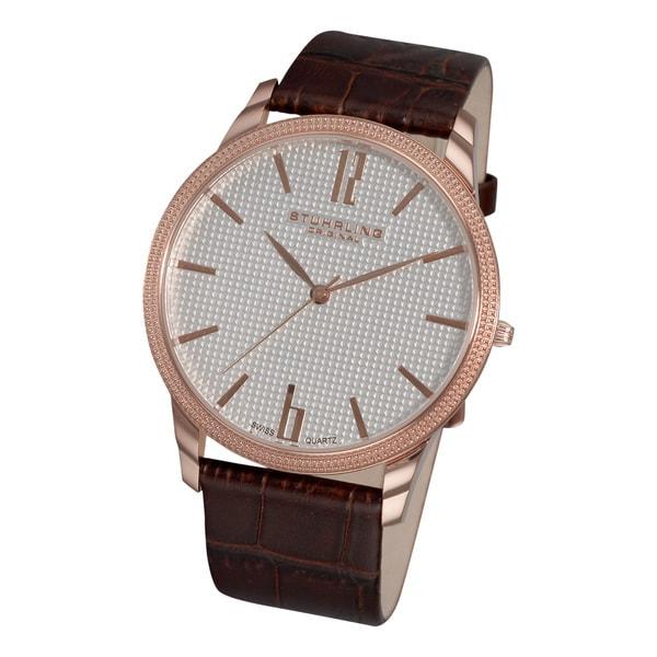 Stuhrling Original Men's 'Del Mar' Swiss Quartz Brown Leather Strap Watch