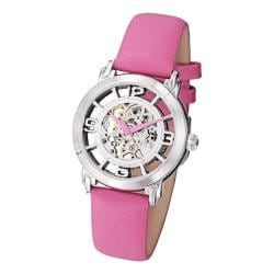 Stuhrling Original Women's 'Winchester' Automatic Pink Satin Twill Strap Watch