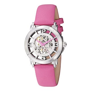 Stuhrling Original Women's 'Winchester' Automatic Pink Satin Twill Strap Watch