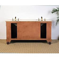 Marble Top 63-inch Double Sink Bathroom Vanity