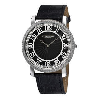 Stuhrling Original Men's 'Hyperion' Swiss Quartz Black Leather Strap Watch