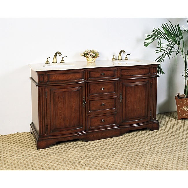 Marble Top 61-inch Double Sink Bathroom Vanity