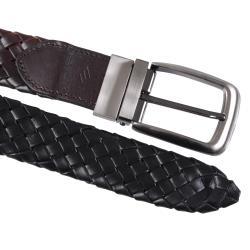 Joseph Abboud Men's Basket Weave Reversible Leather Belt