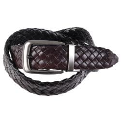 Joseph Abboud Men's Basket Weave Reversible Leather Belt