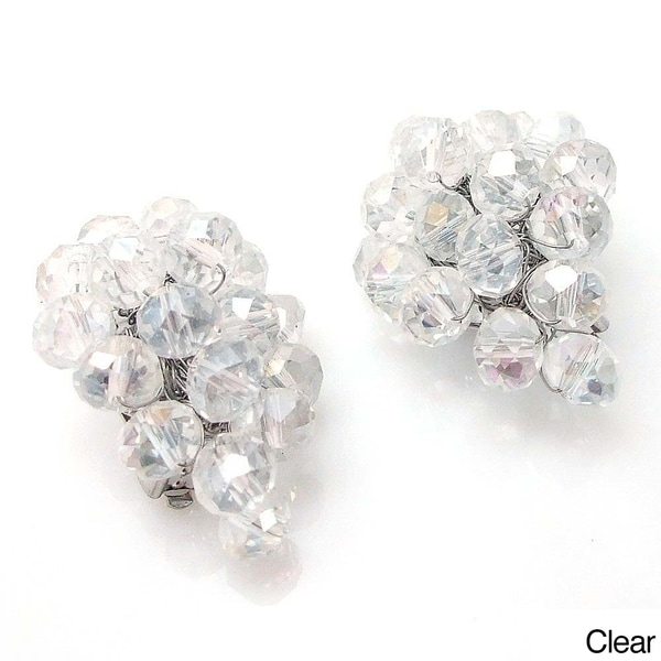 Midnight Forest Black Crystals Grape Clip On Earrings (Thailand)